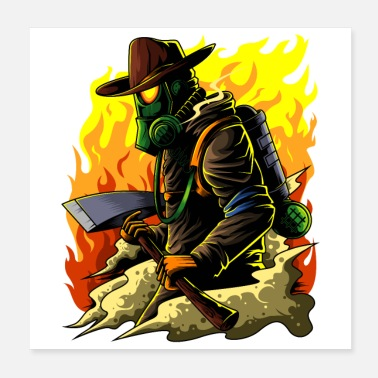 Brand Firefighter Illustration - Firefighter Hero Brand - Poster 20x20 cm