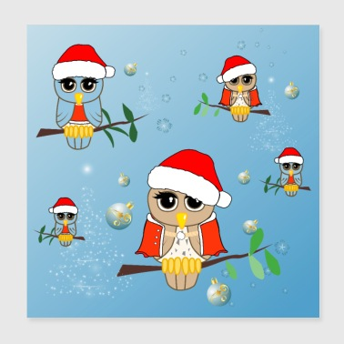 December Cute little owl with hat and christmas balls - Poster 20x20 cm