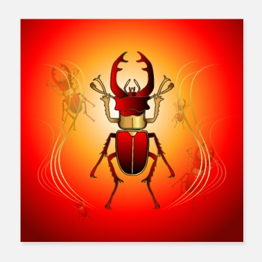 Decoration Stunning decorative deer beetle - Poster 20x20 cm