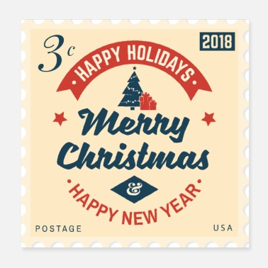 Stamp - Merry Christmas & Happy New Year - Poster