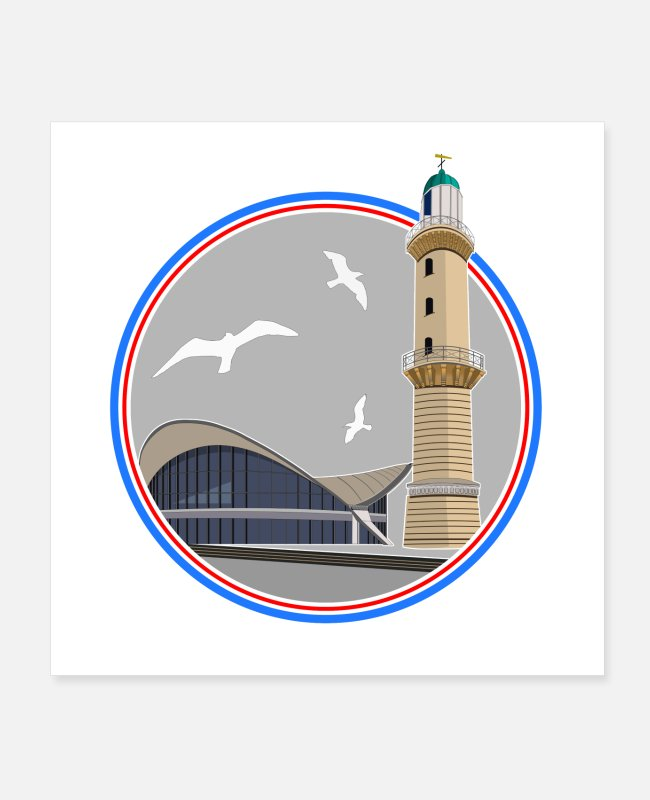 Drawing Posters - ICON lighthouse and Teepott Rostock Warnemünde - Posters white
