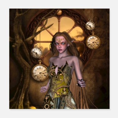 Gear Wonderful steampunk fairy with watches and gear - Poster