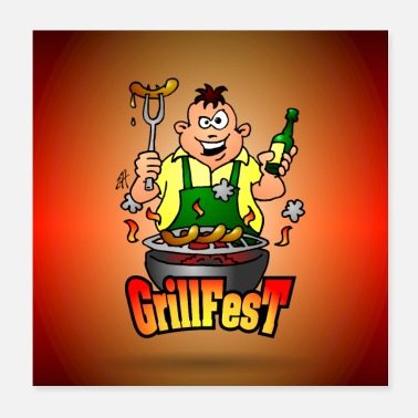 Capo Griglia Poster BBQ Grillfest - Poster 20x20 cm