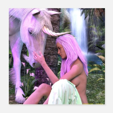 Fantastic UNICORN WITH NUDE OF WOMAN TO THE SOURCE 2 - Poster 20x20 cm