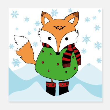 Snowflake Fox in winter with scarf and boots - Poster 20x20 cm