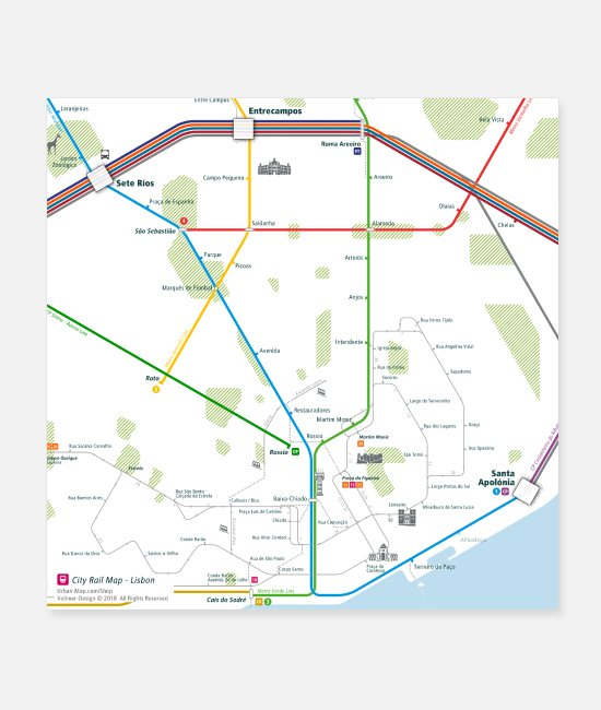 Kind Posters - Lisbon Map Square - Posters white