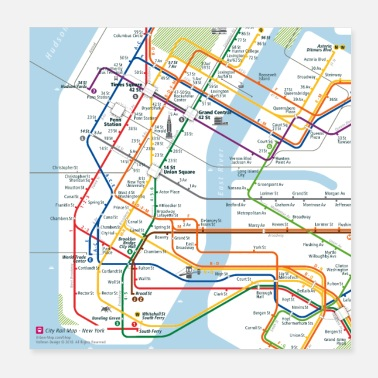 New New York Map Square - Poster