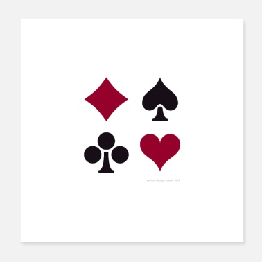 Poker Klubbar Spades Hearts Diamonds - Poster 20x20 cm