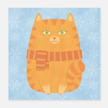 Fat Cute fat cat with scarf poster - Poster 20x20 cm