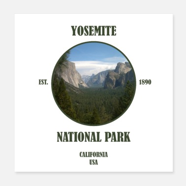Geografie Yosemite National Park Californië West Coast, Verenigde Staten - Poster 20x20 cm