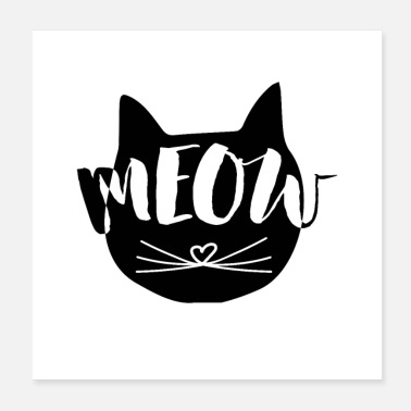 Typo MEOW Cats Illustration med Typo som Print Motive - Poster 20x20 cm