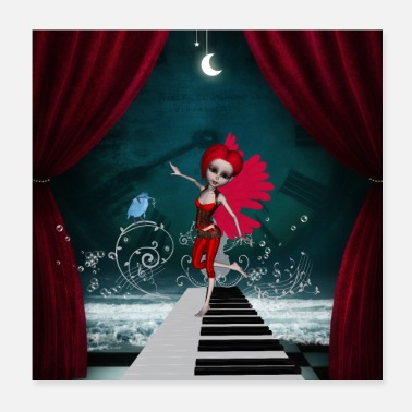 Tanzen Cute fairy dancing on a piano with fantastic bird - Poster
