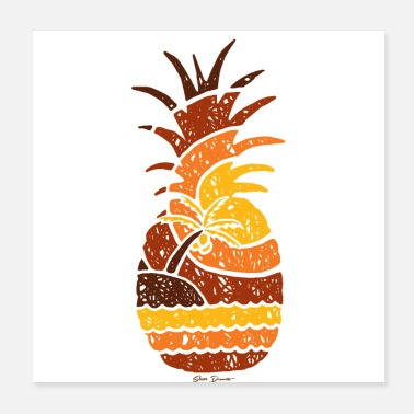 Beach Volleyball Pineapple and Beach - Poster 20x20 cm