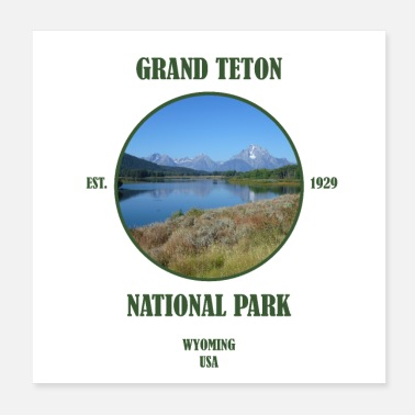 Cowboy Grand Teton Nationalpark Wyoming Yellowstone USA - Poster 20x20 cm