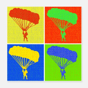 Thermals Paraglider four squares pop art gift - Poster