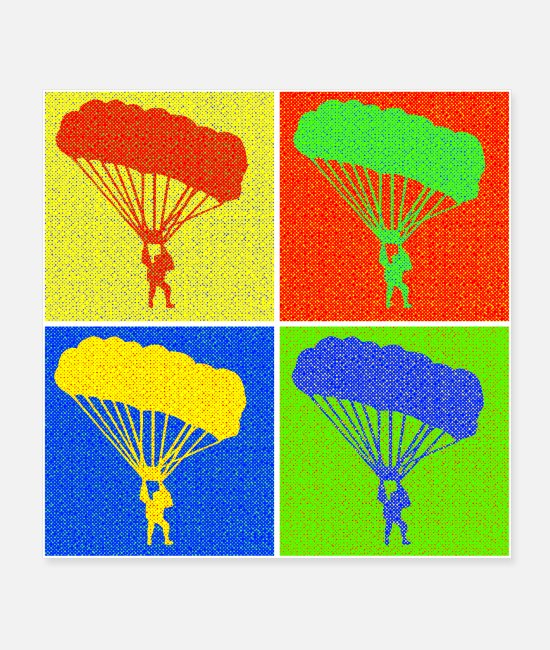 Thermals Posters - Paraglider four squares pop art gift - Posters white
