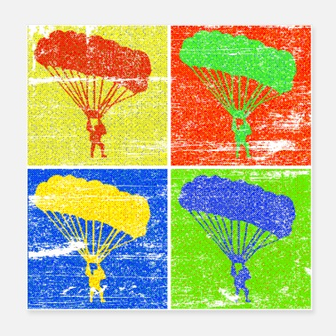 Paragliding Paraglider four squares halftone gift - Poster