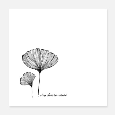 Flora Ginkgo Blätter - stay close to nature - Poster 20x20 cm