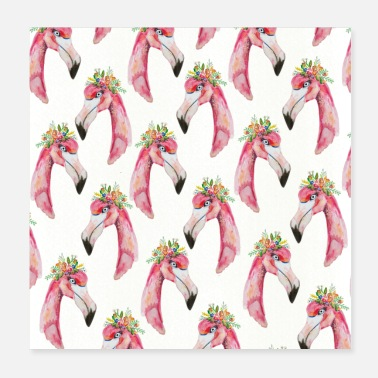 Tiere flamingo flower - Poster