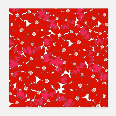Congratulations Red Floral Pattern - Poster 20x20 cm