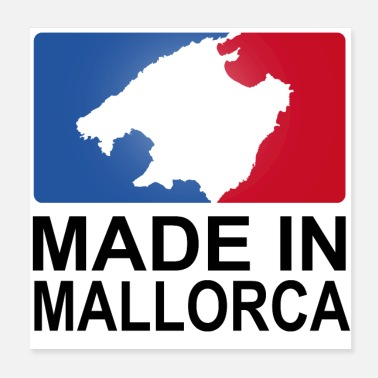 Sporty sporty logo Made in Mallorca hvid - Poster 20x20 cm
