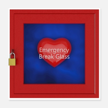 Incendie Emergency break Glass - Poster 20 x 20 cm