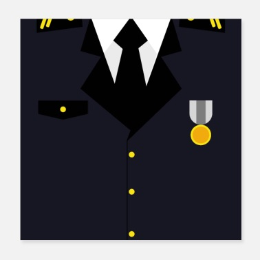 Award Dark blue military uniform with medal - idea - Poster