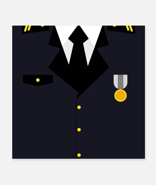 Infantry Posters - Dark blue military uniform with medal - idea - Posters white
