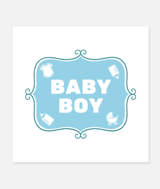 Pregnancy Posters - Baby Boy - Blue - English - Posters white