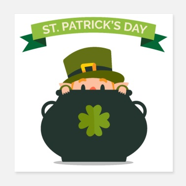 Parade Kobold St. Patrick's Day Goldtopf Geschenk Irland - Poster 20x20 cm