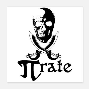 Pi Pirate Flag Skull Swords Gaveidee - Poster