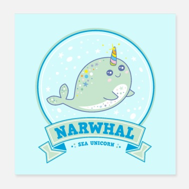 Wife Narwhal sea unicorn whale unicorn narwhal blue poster - Poster 20x20 cm