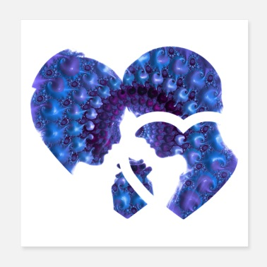 Anledning PURPLE BLUE LOVE - Poster 20x20 cm