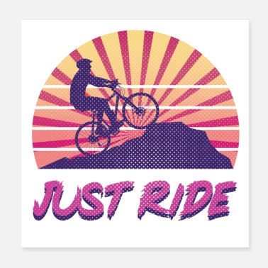 Mountain Bike Just ride. Mountain bike downhill - Poster 20x20 cm