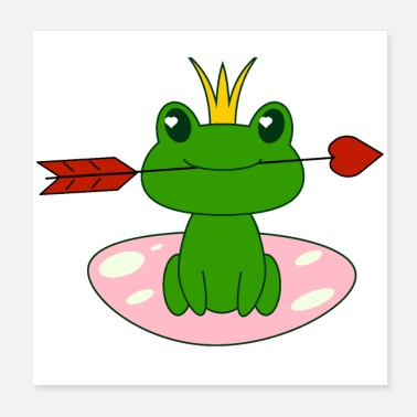Valentines Day Frog with heart, love, valentines day, baby girl - Poster 20x20 cm