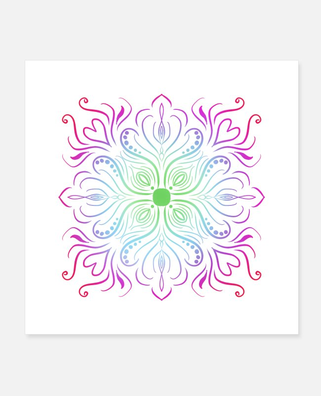 Pattern Posters - Mandala colorful goa hippie gift yoga meditation - Posters white