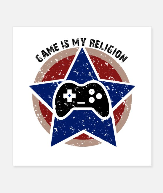 Play Posters - Game is my religion, gaming, gambling, gamer, nerd - Posters white