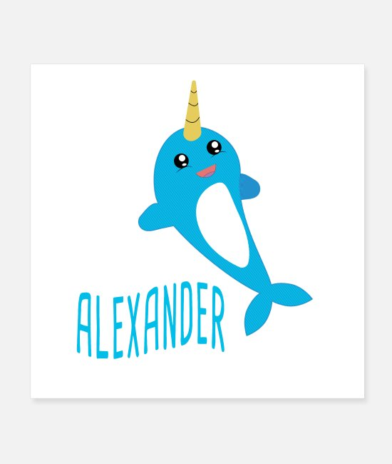 Pregnancy Posters - Alexander, narwhal, birthday, name, baby gift - Posters white