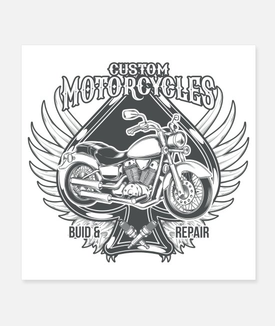 Wing Posters - Custom Motorcycles America Motorcycle Retro Gift - Posters white