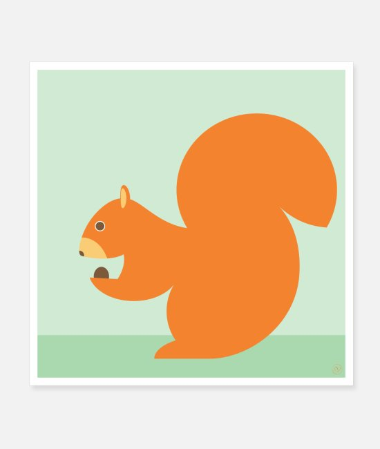 Stijlvol Posters - Squirrel - poster - Posters wit