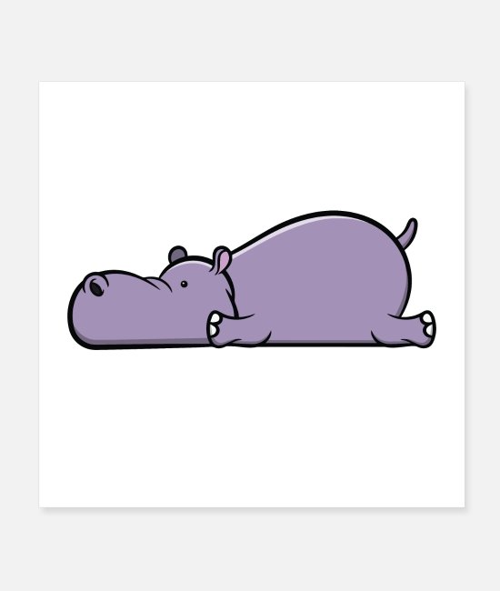 Birthday Posters - Cute hippopotamus - tired sleeping animal gift - Posters white