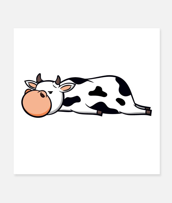 Lazy Posters - Cute Cow - Tired Cute Sleeping Animal Gift - Posters white
