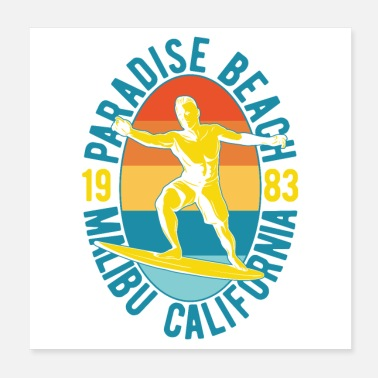 1983 Paradise Beach Surfer 1983 gift idea - Poster
