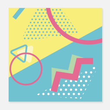 Turquoise Pastel turquoise geometry - Poster