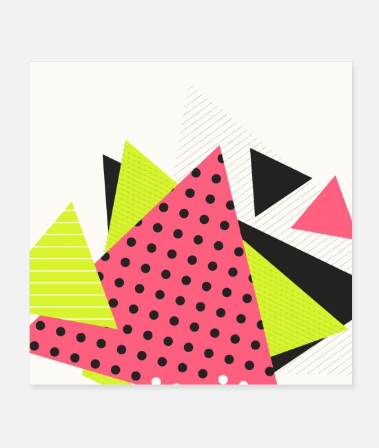 Pattern Posters - Neon geometry shapes - Posters white