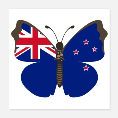 New Zealand Butterfly New Zealand Flag of New Zealand - Poster