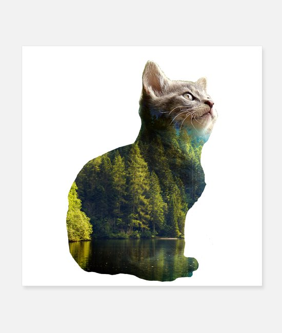 Adventure Posters - Double exposure animals cat nature - gift idea - Posters white