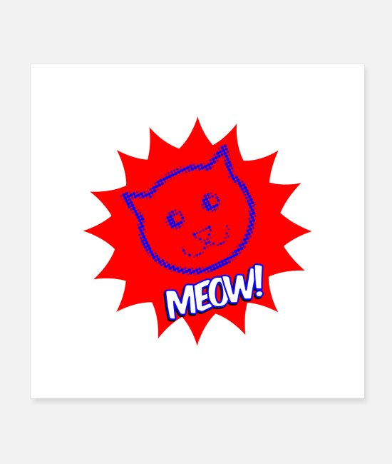Lettering Posters - Cat red dots - Posters white