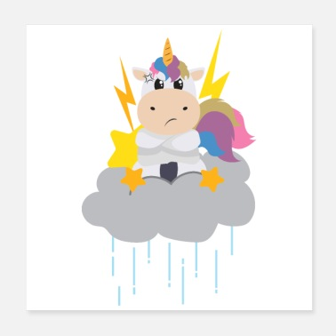 Naamdag Mad Unicorn on raining clouds - cadeau idee - Poster