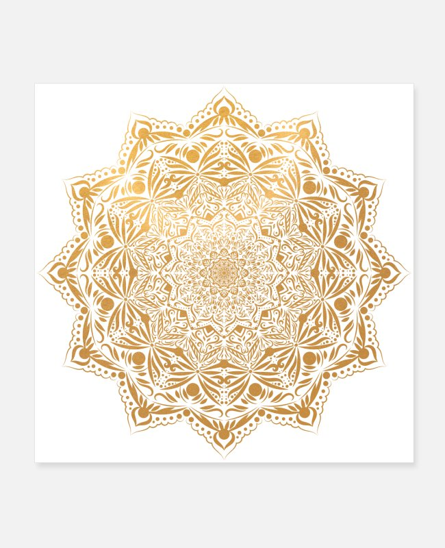 Gold Posters - Mandala in gold - Posters white